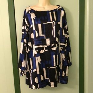 Lauren Ralph Lauren Silk Print Tunic Blouse 2X